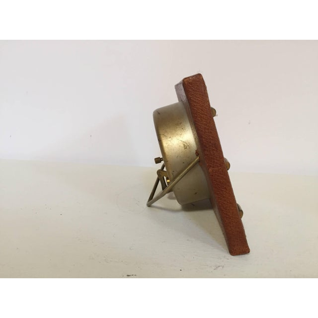 Gold Leather and Brass Bauhaus French Endura Desk Clock Jacques Adnet Style For Sale - Image 8 of 12