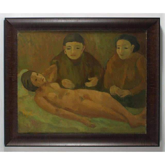 """Jennings Tofel """"Women With Nude"""" Early Expressionist Oil Painting, 1929 For Sale - Image 4 of 4"""