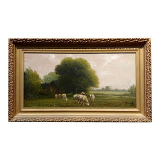 """Jacques Durant """"Flock of Sheep in a French Countryside"""" Oil Painting C.1860s For Sale"""