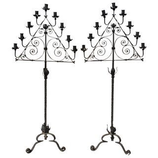 Wrought Iron Candelabras - A Pair
