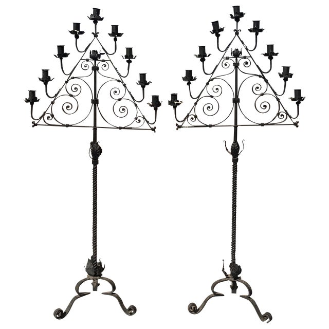 Wrought Iron Candelabras - A Pair For Sale