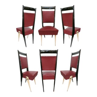 Set of 6 Italian-Back Modernist Dining Chairs For Sale