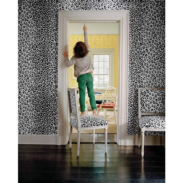 Schumacher Iconic Leopard Pattern Animal Print Wallpaper in Ink Blue - 2-Roll Set (9 Yards) For Sale In Charlotte - Image 6 of 7