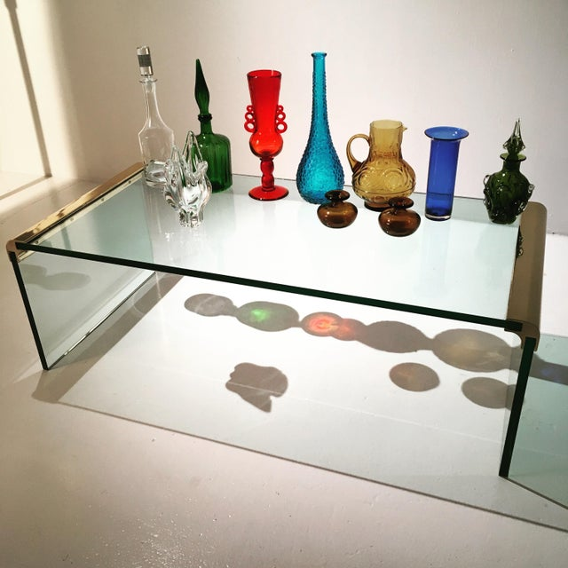 1970s Minimalist Pace Collection Brass and Glass Coffee Table For Sale In Chicago - Image 6 of 8