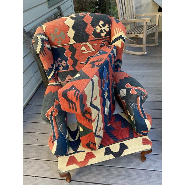 Kilim Wingback Chairs - a Pair For Sale - Image 9 of 13