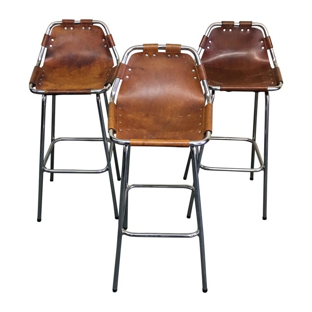 Charlotte Perriand Leather Barstool - Set of Three - Image 1 of 10