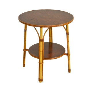 Ward Wicker Vintage Split Reed Rattan Round Side Table For Sale