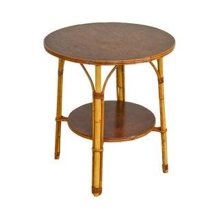 Ward Wicker Vintage Split Reed Rattan Round Side Table For Sale