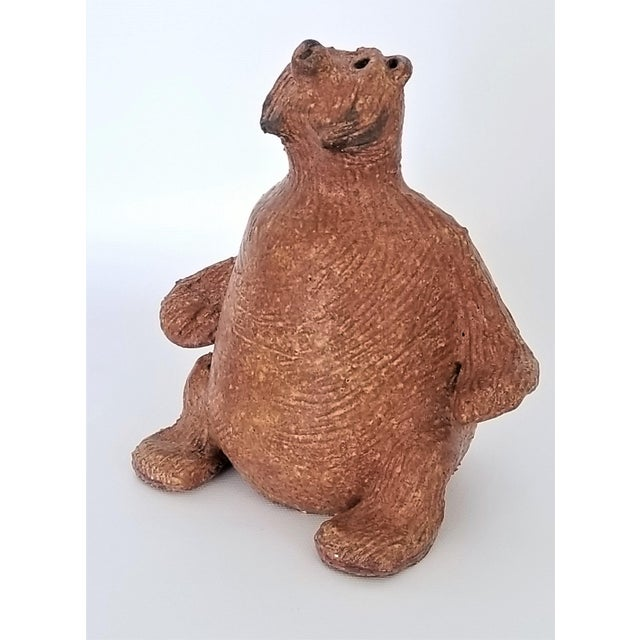 Ceramic Vintage 1970s Danish Modern Studio Art Pottery Bear Sculpture- Signed For Sale - Image 7 of 13