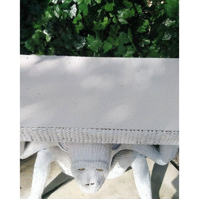 Mario Torres Lopez Vintage Extra Large White Wicker Monkey Hall Console Table For Sale - Image 9 of 13