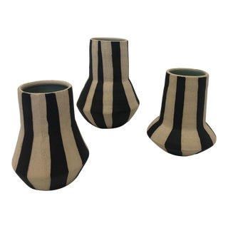 Boho Chic Ceramic Striped Vases - Set of 3 For Sale