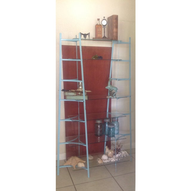 Mid-Century Industrial Metal Glass Shelving Unit - Image 7 of 10
