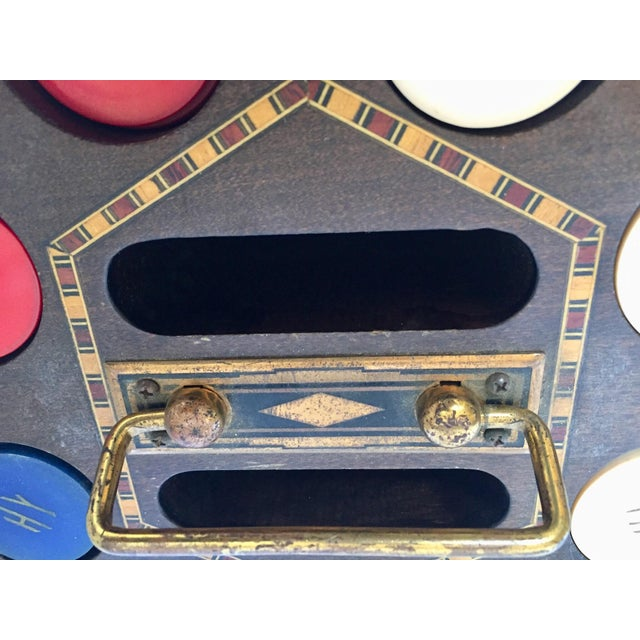 Americana Vintage Poker Chip Carousel Wood Caddy With Cover For Sale - Image 3 of 10