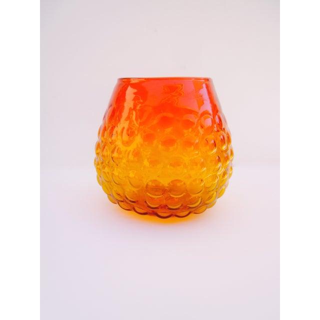 Blenko Bubble Glass Amberina Sandblasted Sig Vase - Image 3 of 11