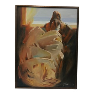 "Figurative Oil Painting on Canvas ""Looking Outward"" by Artist McLachlan For Sale"