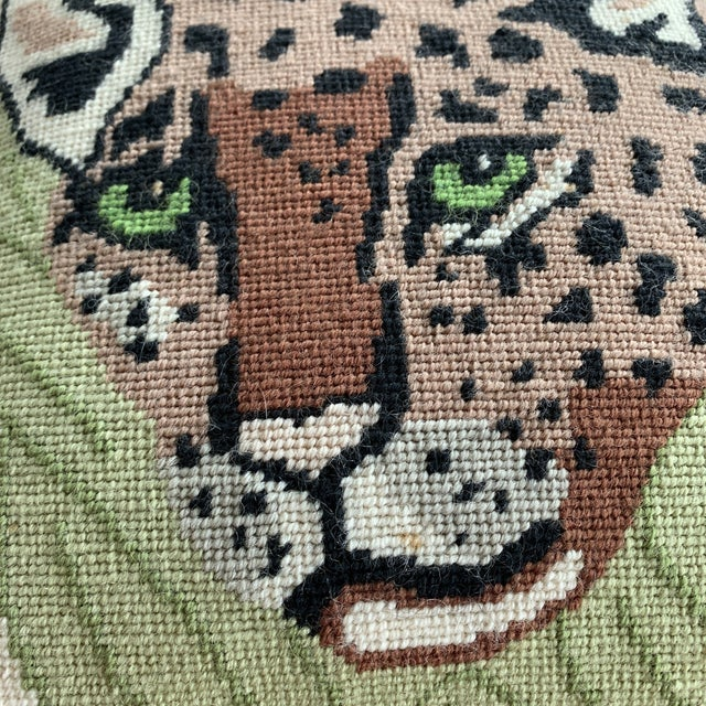 Vintage Mid Century Cheetah Needlepoint Pillow For Sale In Miami - Image 6 of 8