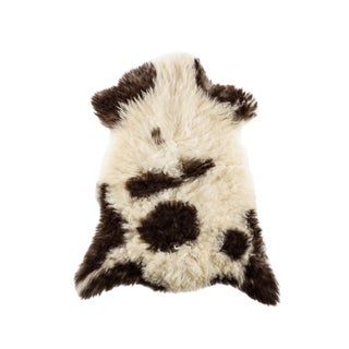 "Long Wool Sheepskin Pelt, Handmade Rug 2'5""x3'1"" For Sale"