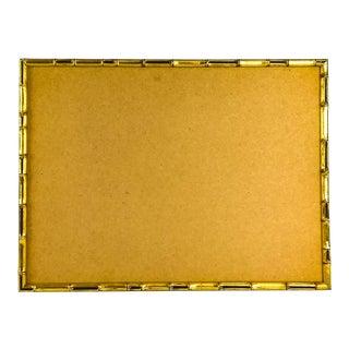 Custom Vintage Antique Gold Faux Bamboo Wood Framed Bulletin Corkboard For Sale
