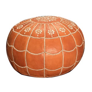 Full Arch Pouf Ottoman by Mpw Plaza, Light Tan (Unstuffed) Moroccan Leather Pouf Ottoman For Sale