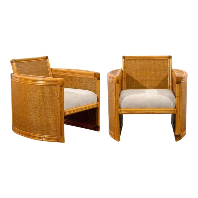 Unusual Pair of Bamboo and Raffia Lounge/Club Chairs For Sale