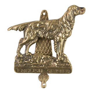 Brass English Setter Dog Door Knocker For Sale
