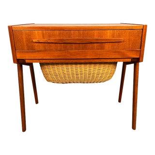 Vintage Danish Mid Century Modern Teak Sewing Table For Sale