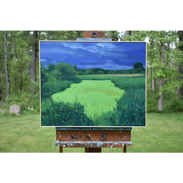 """Contemporary """"Glowing Green ~ Algae Covered Pond"""" Painting For Sale - Image 3 of 13"""