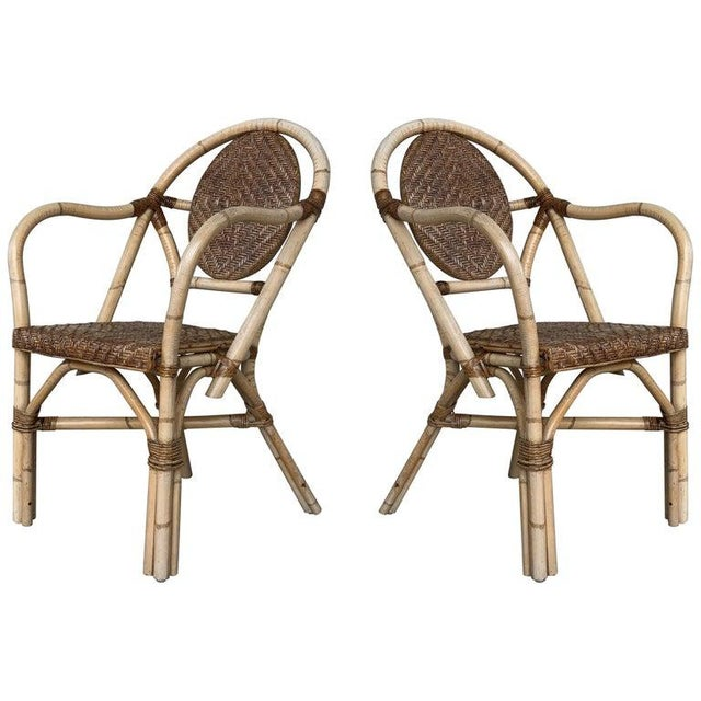 1960s Pair of Spanish Bamboo Armchairs With Ovaled Back Rest For Sale - Image 10 of 10