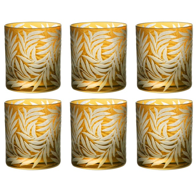 Artel Willow Double Old Fashioined Glasses, Set of 6, Amber For Sale - Image 4 of 4
