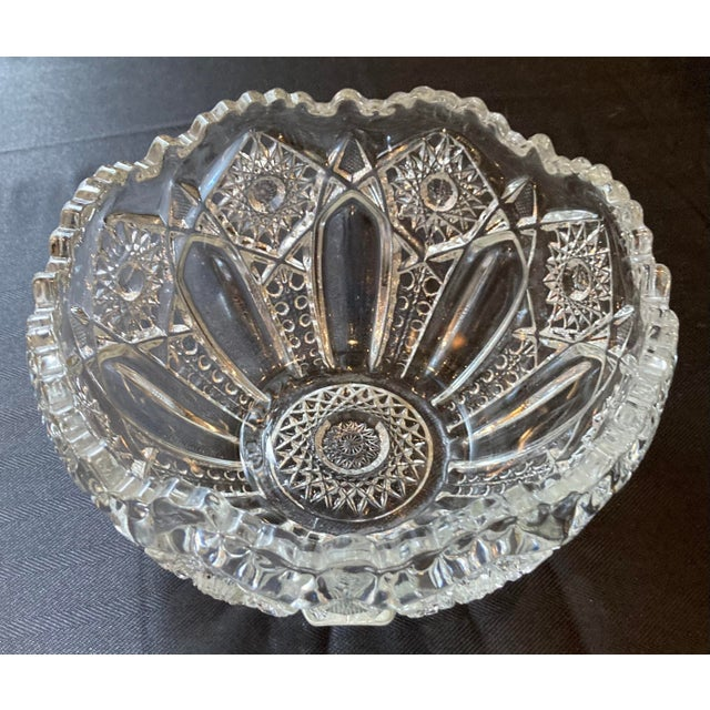 Contemporary Hand Cut Crystal Czech Bohemian Glass Bowl For Sale - Image 3 of 7