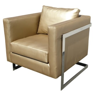 Mid Century Gold Chrome Club Chair Contemporary Modern Style For Sale