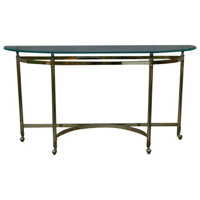 La Barge Style Vintage Brass and Glass Console For Sale