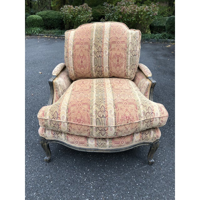 Vintage French Bergere Chair With Paisley Upholstery For Sale - Image 10 of 13