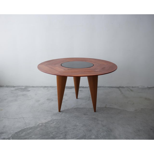 Mid Century Round 3 Legged Danish Solid Teak Dining Table For Sale - Image 4 of 7