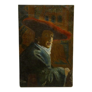 """Vintage """"Renaissance Man"""" Painting on Canvas and Stretch Strips For Sale"""