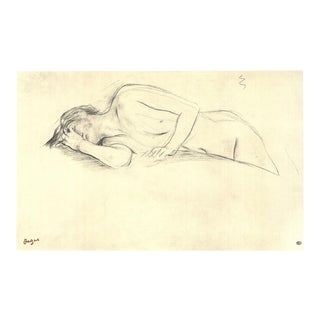 """EDGAR DEGAS Naked Woman Lying on Her Stomach 28"""" x 39.5"""" Poster 1997 Neutral, Gray For Sale"""