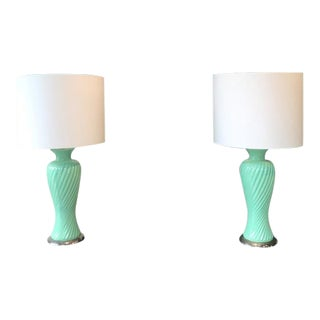 Pair of Aqua Green Ribbed Table Lamps, 1960s For Sale