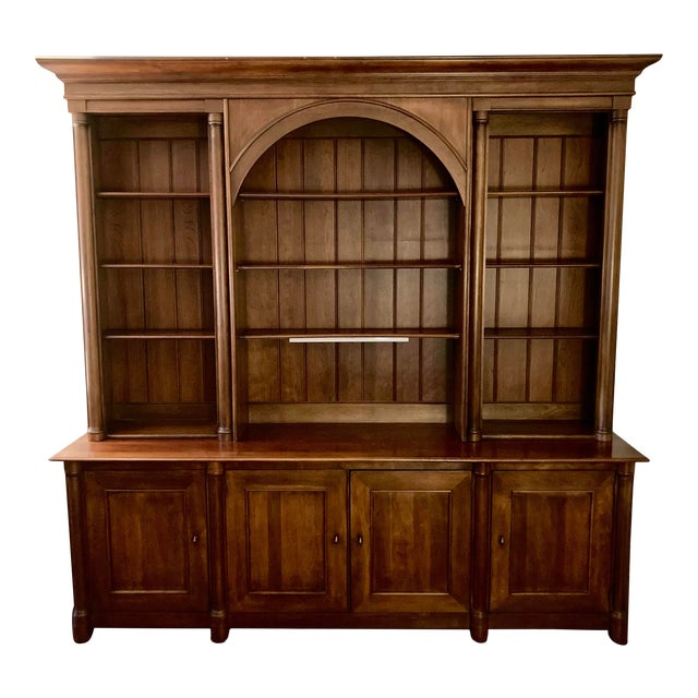 Cherry Triple Bookcase Breakfront Cabinet by Henredon For Sale
