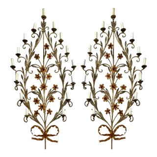 Midcentury Large Scale Italian Floral Tole Sconces, Pair For Sale