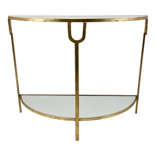 Modern Gold Gilt Finish Demi-Lune Console Table For Sale