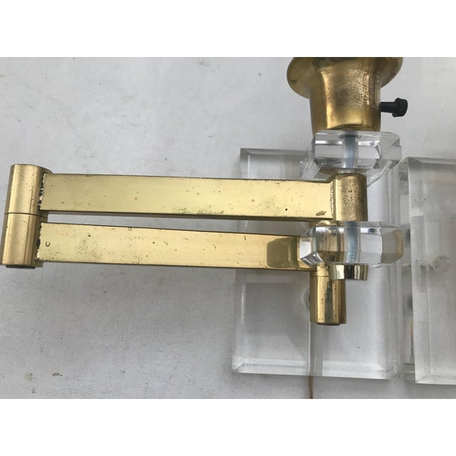 Brass Walter Von Nessen Karl Springer Style Lucite Acrylic Brass Wall Sconces - a Pair For Sale - Image 8 of 10