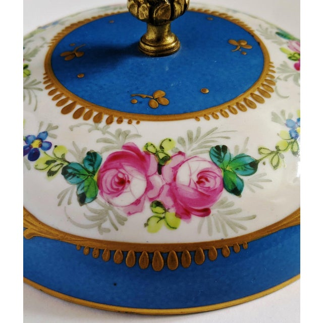 Antique French Gilt Bronze & Porcelain Sevres Jewelry Box / Potpourri For Sale - Image 11 of 13