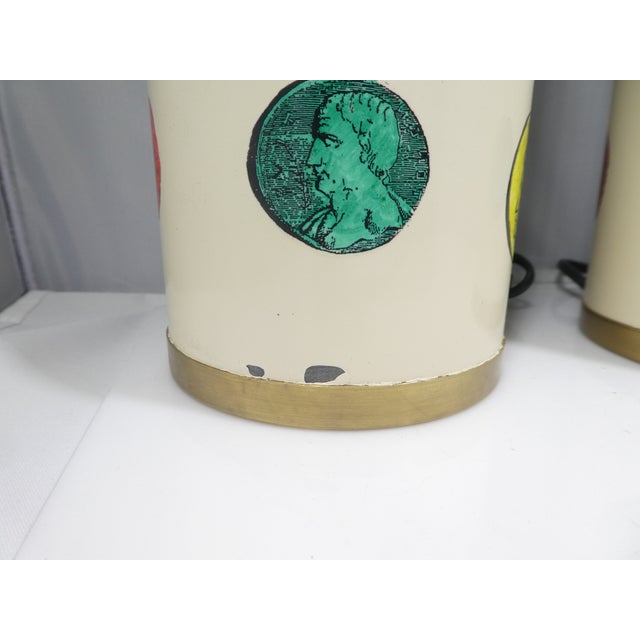 1960s Vintage Piero Fornasetti Cameo Lamps - a Pair For Sale - Image 12 of 13