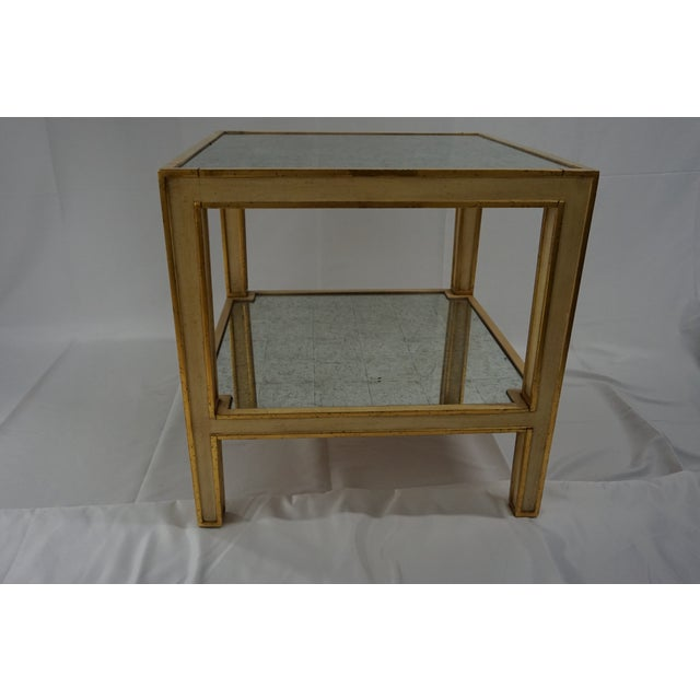 Beautiful Eglomise Side Table with Painted Finish, Gilded Striping, and Antique Mirror Top. Was in Paloma Contreras's...