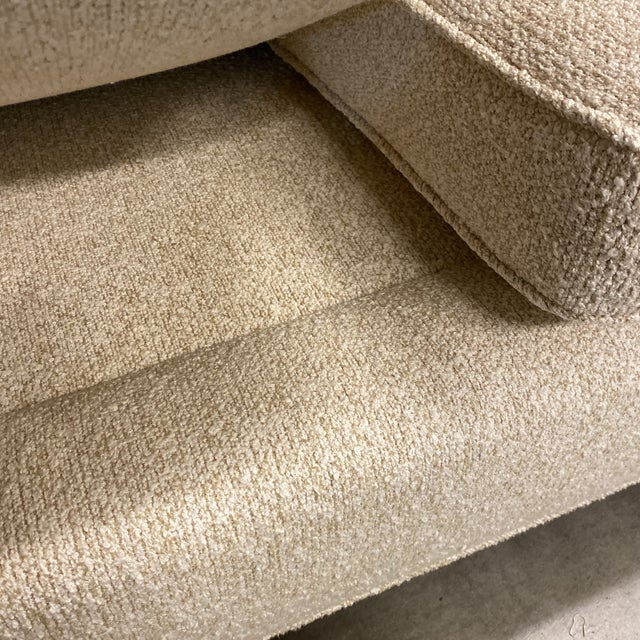 Metal Custom Designed Nubby Cotton Three Seater Sofas - a Pair For Sale - Image 7 of 9