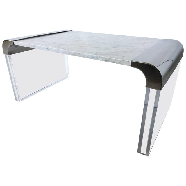 Pleasant Stainless Lucite Marble Waterfall Edge Coffee Table Chairish Cjindustries Chair Design For Home Cjindustriesco