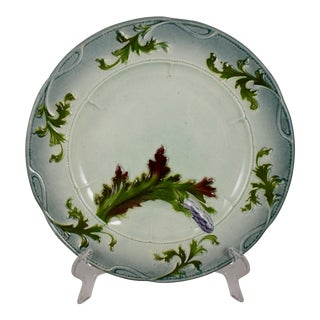 French Faïence Barbotine Majolica Asparagus Plate For Sale