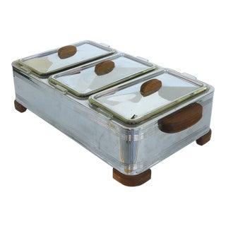 MCM Chrome Bain Marie Food Warmer W/ Wood Handles For Sale