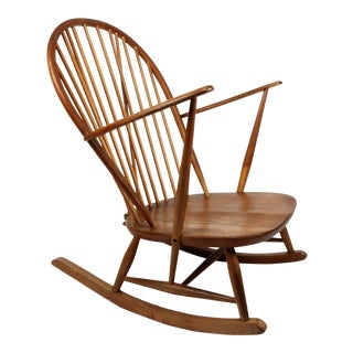 Mid-Century Modern Wood Windsor Style Rocking Chair