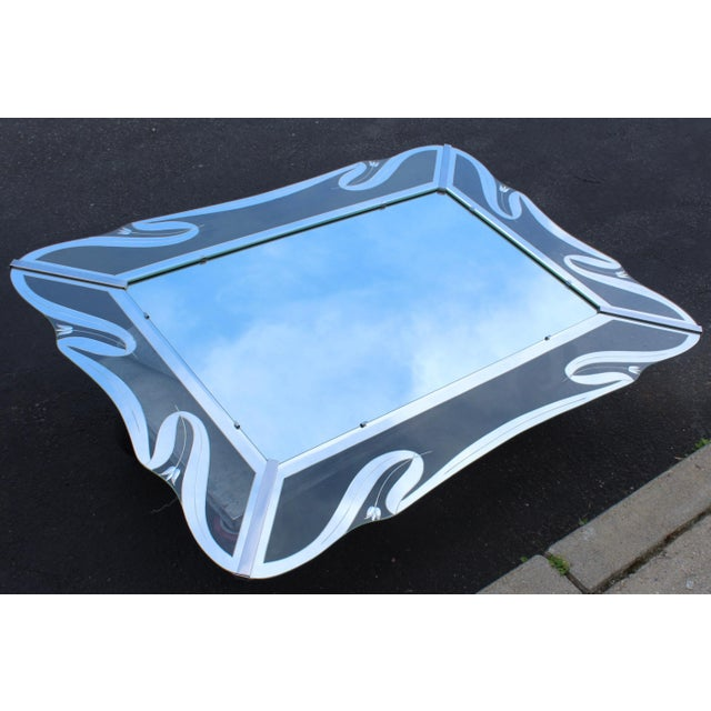 1950s 1950s Mid-Century Modern Etched Glass Mirror For Sale - Image 5 of 13